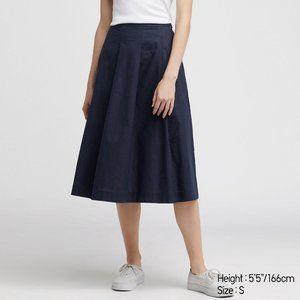 Uniqlo Navy Linen Cotton Midi Skirt